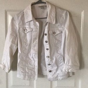 Dress barn white button down jacket 3/4 sleeves